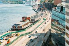 Terraplén en Estocolmo en el día de verano, Suecia Imágenes de archivo libres de regalías