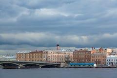 Terraplén inglés en Neva River Fotografía de archivo