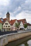 Terraplenagem ao longo do rio Neckar no Nurtingen em Alemanha do sul Imagens de Stock