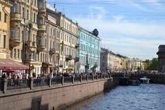 Terraplenagem da canaleta de rio em St Petersburg Fotografia de Stock Royalty Free