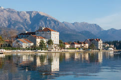 Terraplenagem da cidade de Tivat, Montenegro Fotos de Stock Royalty Free