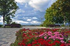 Terraplenagem no Rio Volga da cidade do Samara imagens de stock royalty free