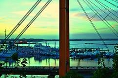 Terraplenagem Ucrânia de Odessa, Odessa, porto, o Mar Negro imagens de stock