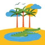 Terrarium tropical island banner vector illustration. Cartoon funny crocodile in water pond near beach with palms trees stock illustration