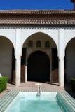 Terras, Alcazaba DE Malaga, Spanje. royalty-vrije stock fotografie