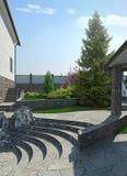 Terras het terrasvormige 3d geeft modelleren, terug Stock Foto