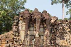 Terras van de Olifanten bij historische complex van Angkor Wat Stock Foto's