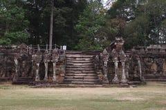 Terras van Olifanten, Angkor Thom Stock Foto's