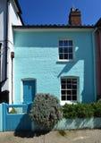 Terrasplattelandshuisje geschilderde munt groen in Aldeburgh Royalty-vrije Stock Foto's