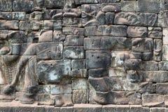 Terrass av elefanterna i Angkor Thom, Cambodja Arkivbilder