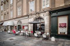 Terrass av ett kafé Fotografering för Bildbyråer