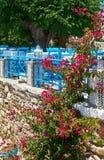 Terrass av sommarrestaurangen i Grekland Fotografering för Bildbyråer