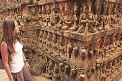 Terrass av spetälskkonungen, Angkor Thom Arkivbilder