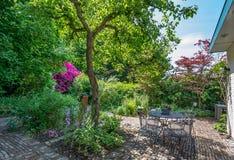 Terrass i trädgård Royaltyfri Bild