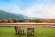 Terrass med bergsikt Arkivbilder