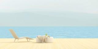Terrass som förbiser havet Royaltyfria Bilder