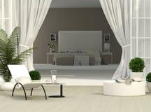 Terrass och sovrum Arkivbild