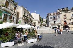 Terrass på Taormina Arkivfoto