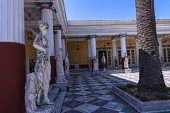 Terrasse am Achilleions-Palast auf der Insel von Korfu Griechenland errichtet von der Kaiserin Elizabeth von Österreich Sissi Stockfotografie