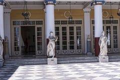 Terrasse am Achilleions-Palast auf der Insel von Korfu Griechenland errichtet von der Kaiserin Elizabeth von Österreich Sissi Lizenzfreies Stockfoto