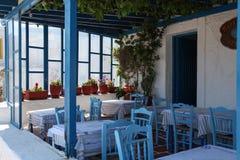 Terrasse auf Paros Insel Stockbilder