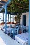 Terrasse auf Paros Insel Stockfotografie