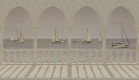 Terrasse avec des vues de la mer Méditerranée Photo libre de droits