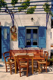 Terrasse bleue et blanche Photos libres de droits