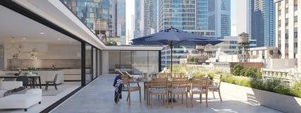 Terrasse d'appartement terrasse dans une grande ville rendu 3d Photo stock