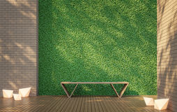 Terrasse d'intimité avec l'image verte de rendu du mur 3d Images libres de droits