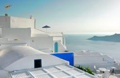 Terrasse dans Imerovigli, Santorini, Grèce Photos libres de droits