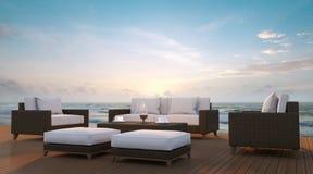 Terrasse de côté de mer et image de rendu du salon 3d Image stock