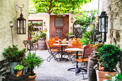 Terrasse de café d'été Photo stock