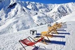Terrasse de café de l'hiver Photographie stock