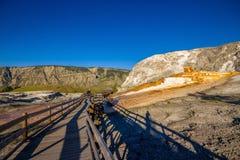 Terrasse de monticule, région de Mammoth Hot Springs en parc national de Yellowstone, Etats-Unis Photos libres de droits
