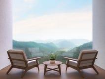 Terrasse de pièce avec l'image de rendu du Mountain View 3d Photographie stock