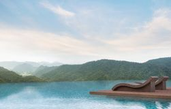 Terrasse de piscine avec l'image de rendu du Mountain View 3d Photographie stock libre de droits