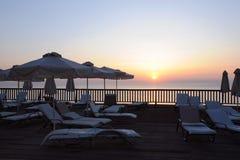 Terrasse de Sun au lever de soleil Photos stock