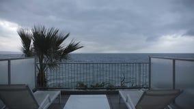 Terrasse de vue de mer banque de vidéos