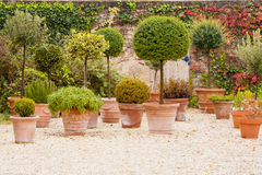 Mediterranean patio with flowerpots Royalty Free Stock Image