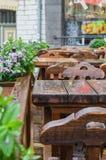 Terrasse der mittelalterlichen Art im Freien Stockfotografie
