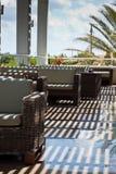 Terrasse des modernen Hotels Stockfotos