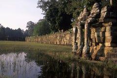 Terrasse des ruines d'Angkor Wat d'éléphants, Cambodge Photographie stock libre de droits