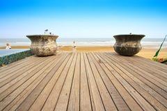 Terrasse devant la mer Image libre de droits