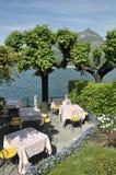 Terrasse du bar, Bellagio sur le lac Como photographie stock
