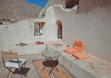 Terrasse in Emporio, Santorini, Griechenland Lizenzfreies Stockbild