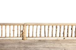 Terrasse en bois d'isolement sur le blanc Photographie stock