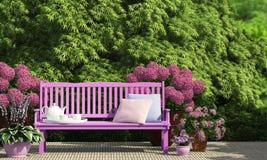 Terrasse im Garten Stockfoto