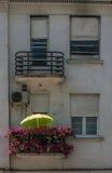 Terrasse mit Blumen Stockfoto