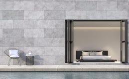Terrasse moderne de chambre à coucher de style de grenier avec l'image de rendu de la piscine 3d Photos libres de droits